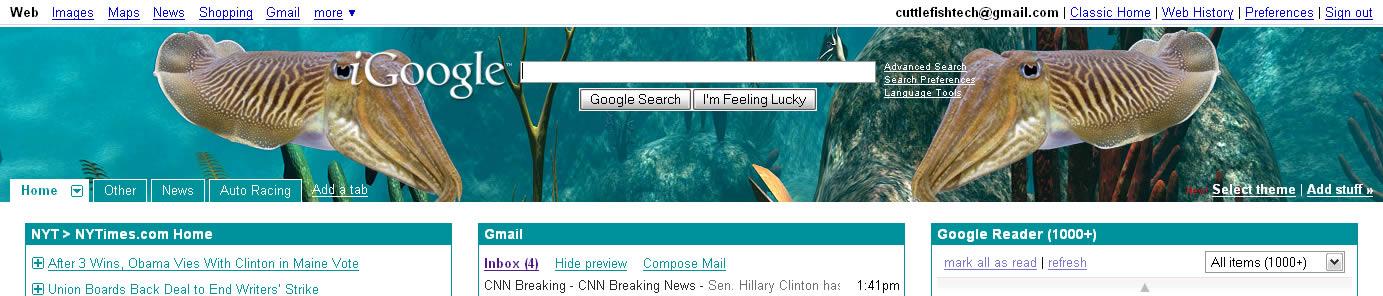 iGoogle Cuttlefish Theme